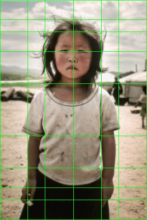 asian girl photo composed with golden ratio