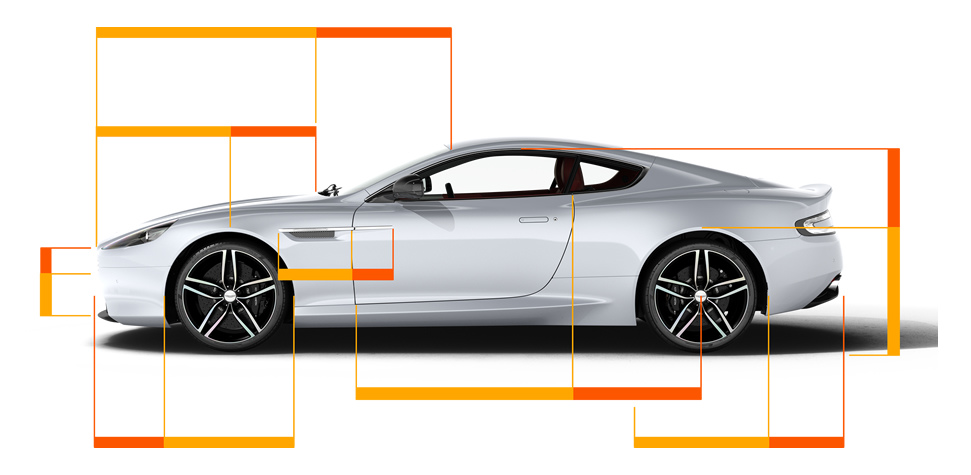 Aston Martin DB9 with golden ratio lines