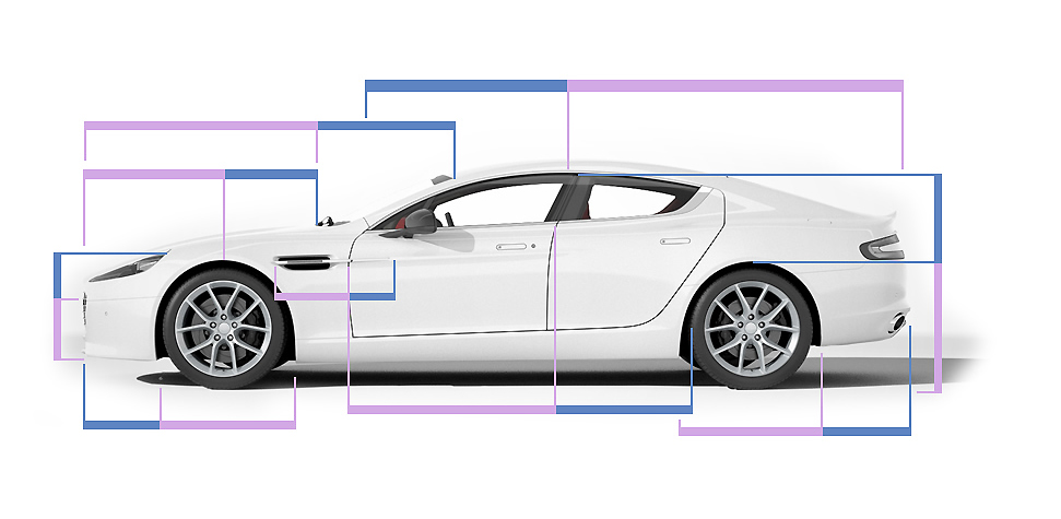 Aston Martin Rapide S with golden ratio lines