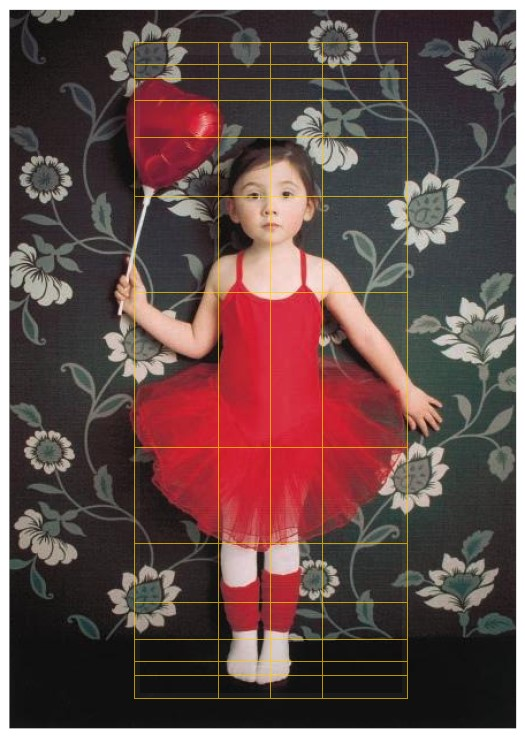 ballerina B with golden ratio lines