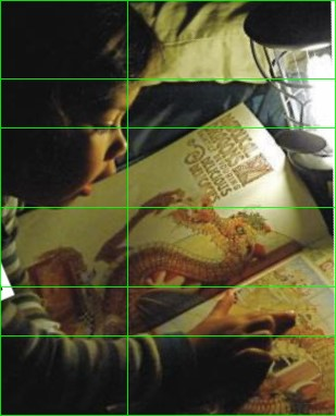child with book and golden ratio composition lines