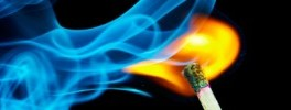 Ignited match flame