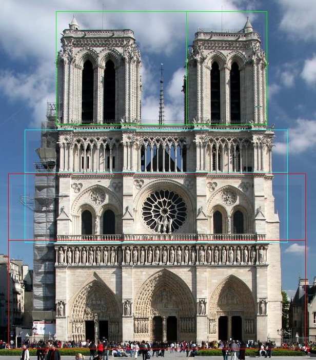 Notre Dame with golden ratio