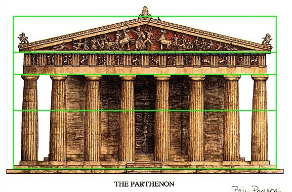 Parthenon showing golden ratios