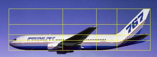 Boeing 767 showing golden ratio lines