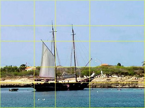 Sailboat photo cropped to golden ratio lines