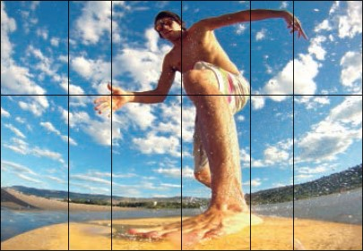 Surfer photo showing golden ratio composition